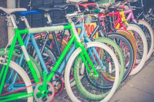 Row of bikes - Bike on red background - The r